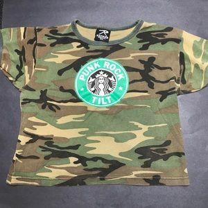 90s Punk Band Coffee Camo T-shirt Medium Large